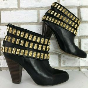 Betsey Johnson Camper Black Leather Gold Stud Boot